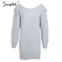 Simplee Sexy lace up sweater dress women Casual o neck batwing sleeve knitted dress jumper Antumn winter dress pullover female