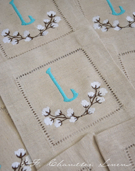Cotton Branch Embroidered Monogram Cocktail Napkins