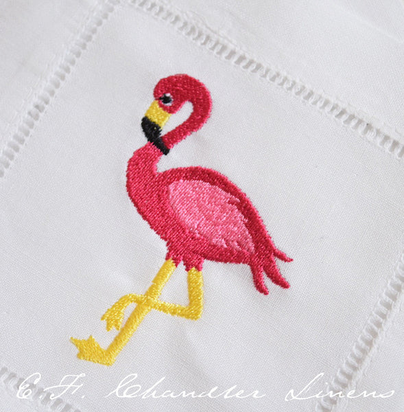 Flamingo Embroidered Cocktail Napkins