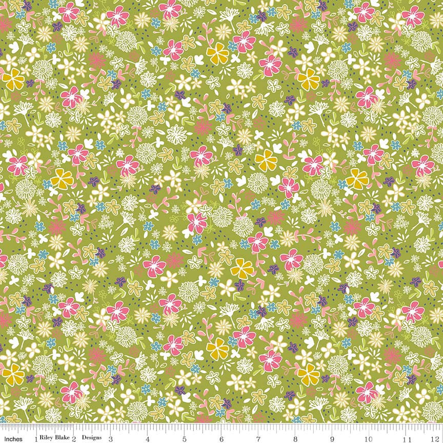 Daisy Secret Garden Green c6283