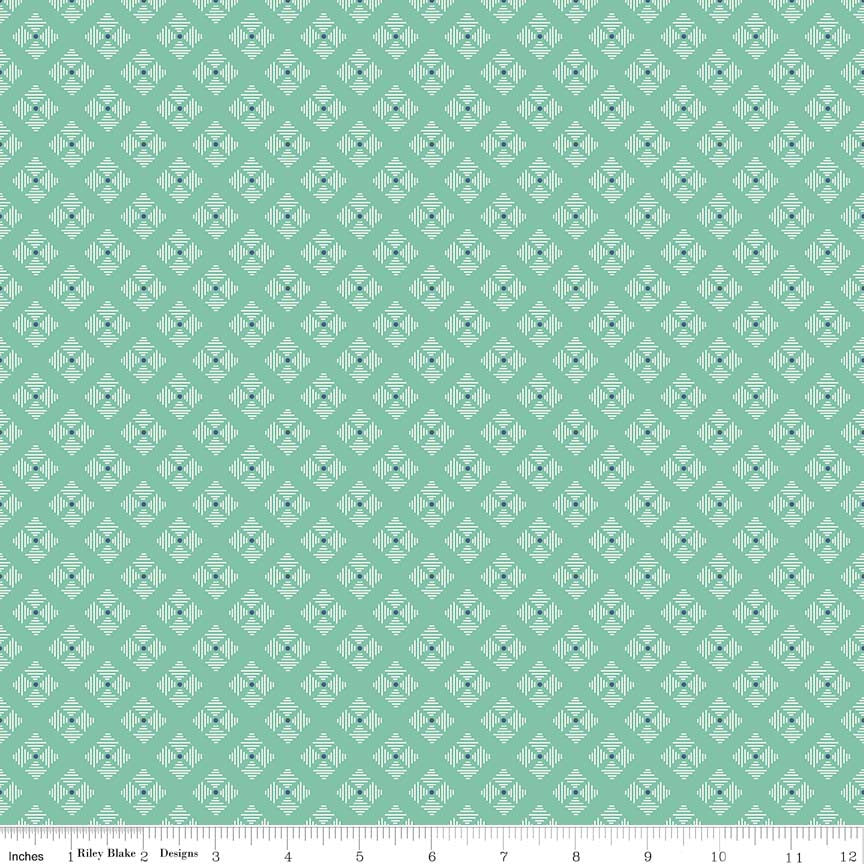 Stitched Flower Teal c6409