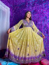 Load image into Gallery viewer, Beauty & the Solar Plexus Anarkali Jacket Dress