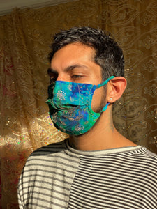 Golden peacock face mask
