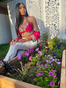 Pink lotus halter top