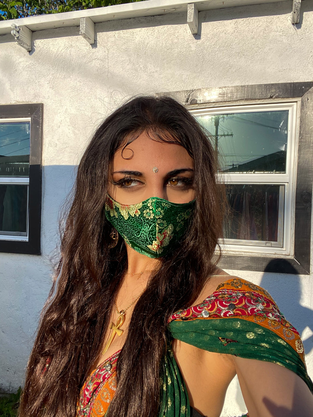 Green Dragon Satin Mask