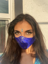 Load image into Gallery viewer, Blue Satin Brocade ninja Mask