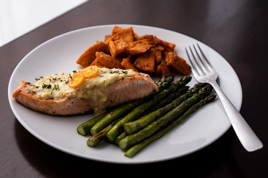 Salmon Filet with Lemon Kumquat Jam and Roasted Sweet Potatoes