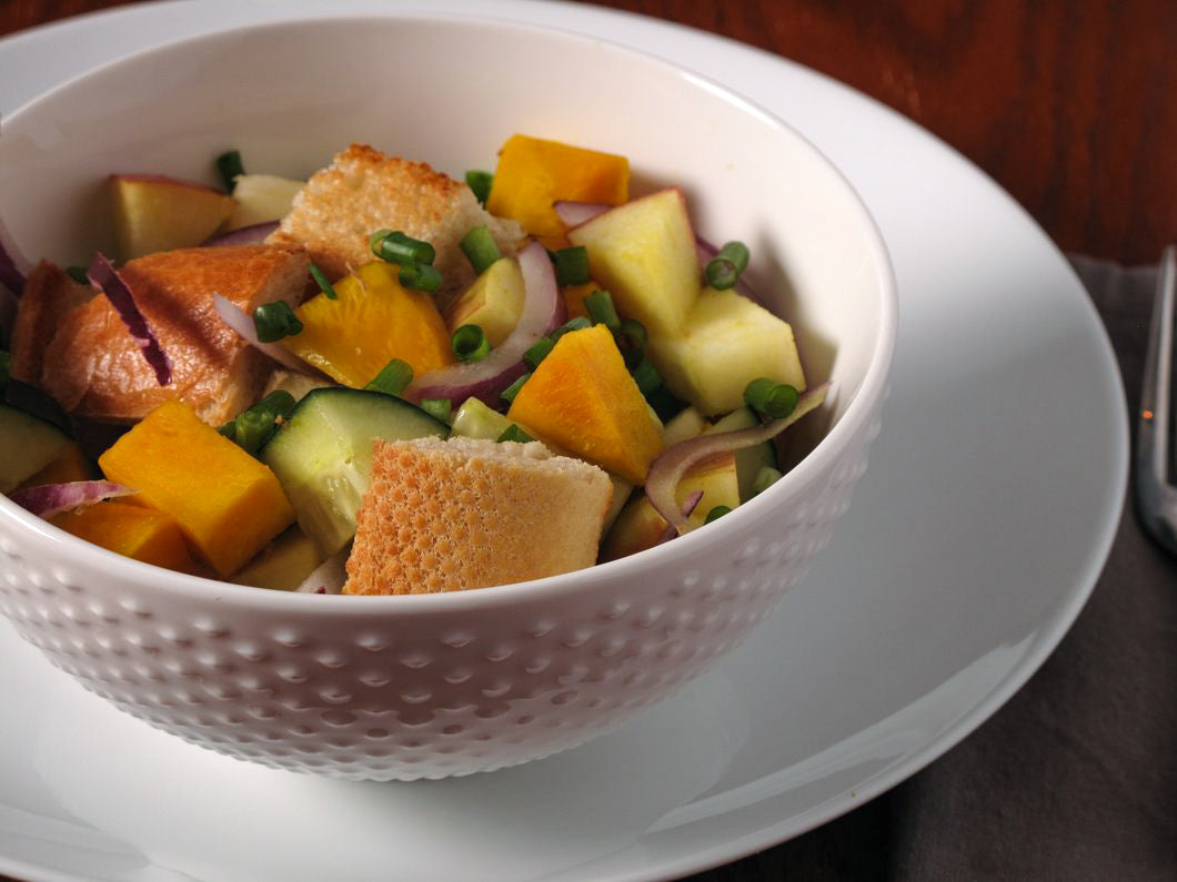 Panzanella Salad with Golden Beets, Apple, Cucumber, and Herb Honey Vinaigrette