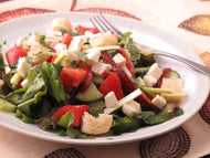 Greek Salad with Feta and Coriander Vinaigrette