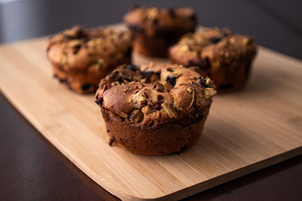 Mixed Berry Muffins with Toasted Pistachios
