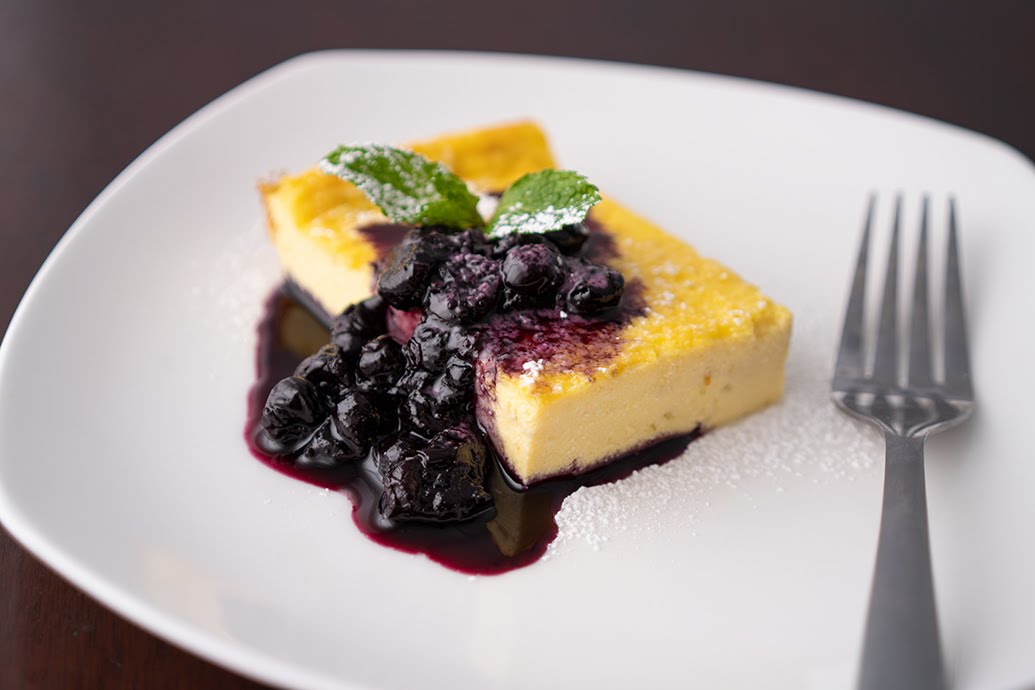 Ricotta Citrus Cake with Blueberry Sauce