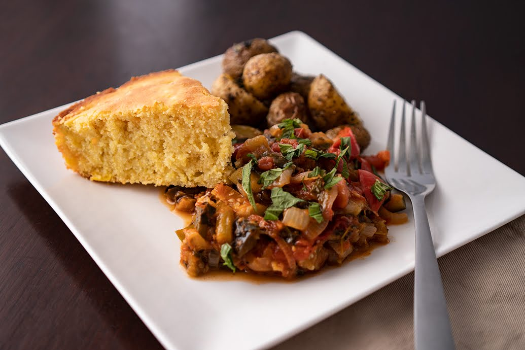 Ratatouille with White Cheddar Cornbread and New Potatoes