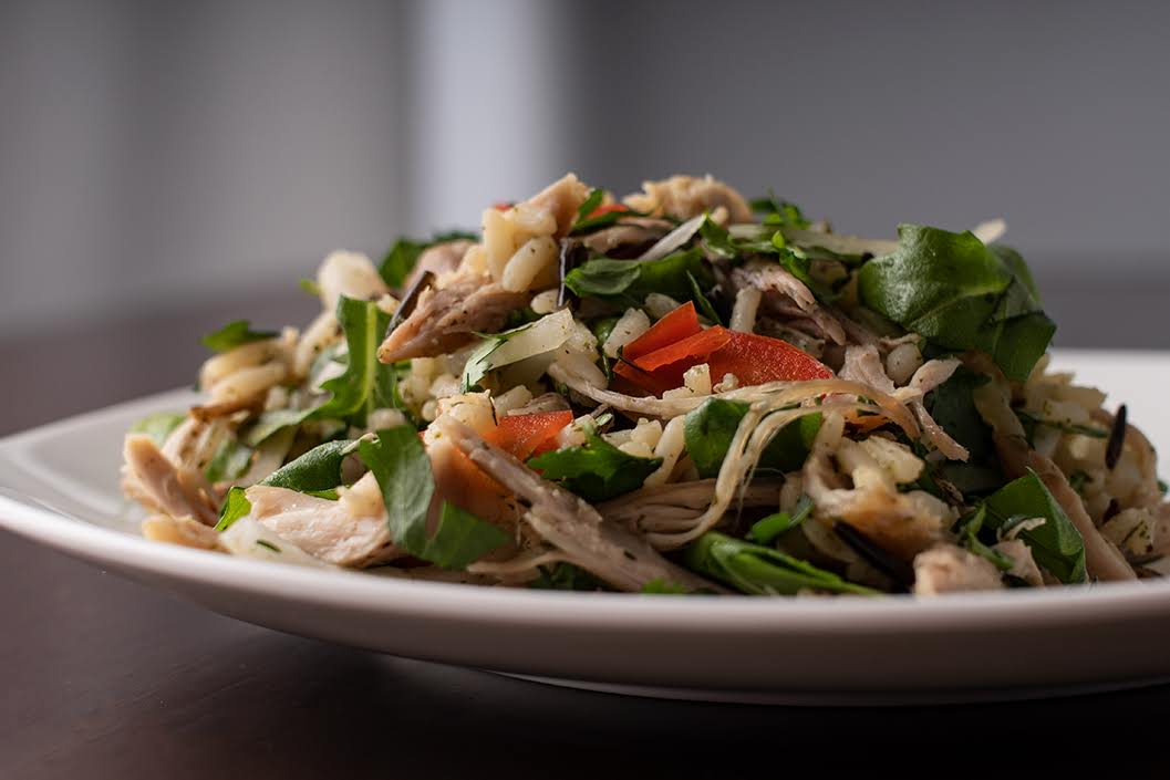 Roast Chicken Rice Salad with Arugula and Lemon Herb Dressing