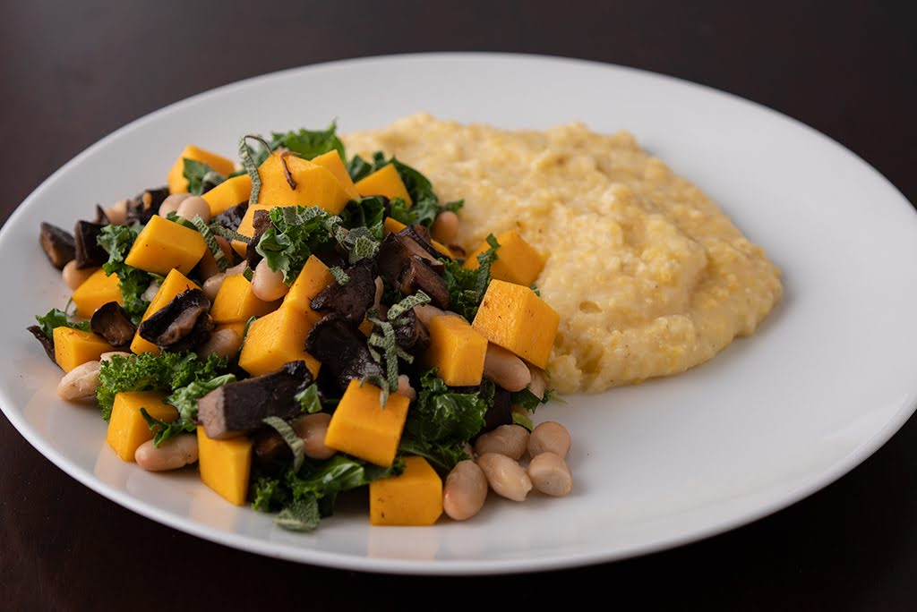 Shiitake, Butternut Squash, White Beans and Kale with Romano Polenta