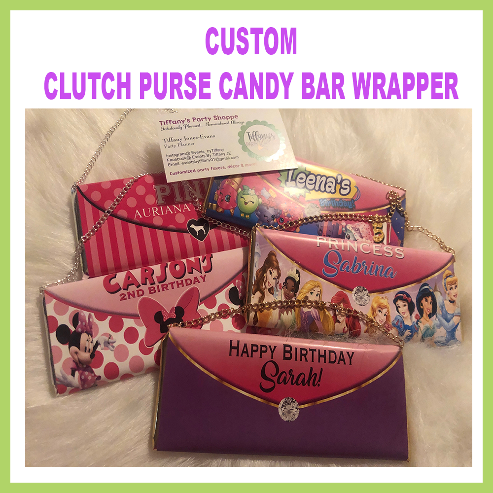 Custom Candy Bar Clutch Purse Label Only