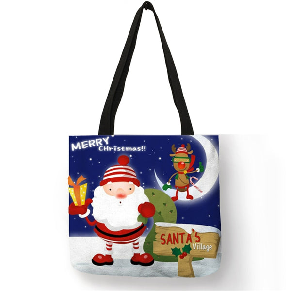 Reusable Christmas Tote Gift Bags With Handles Large Holiday