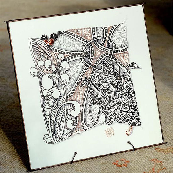 Leaded Glass Frame For Zentangle Opus Tile Or Mosaic Of 9
