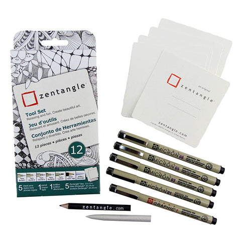 Zentangle Paper Tile and Pen Set - Square White - 12