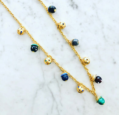 Mediterraneo Multi-Color Long Charm Necklace