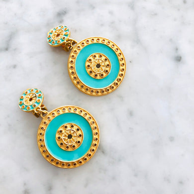 Desol Large Clip Earring with Enamel