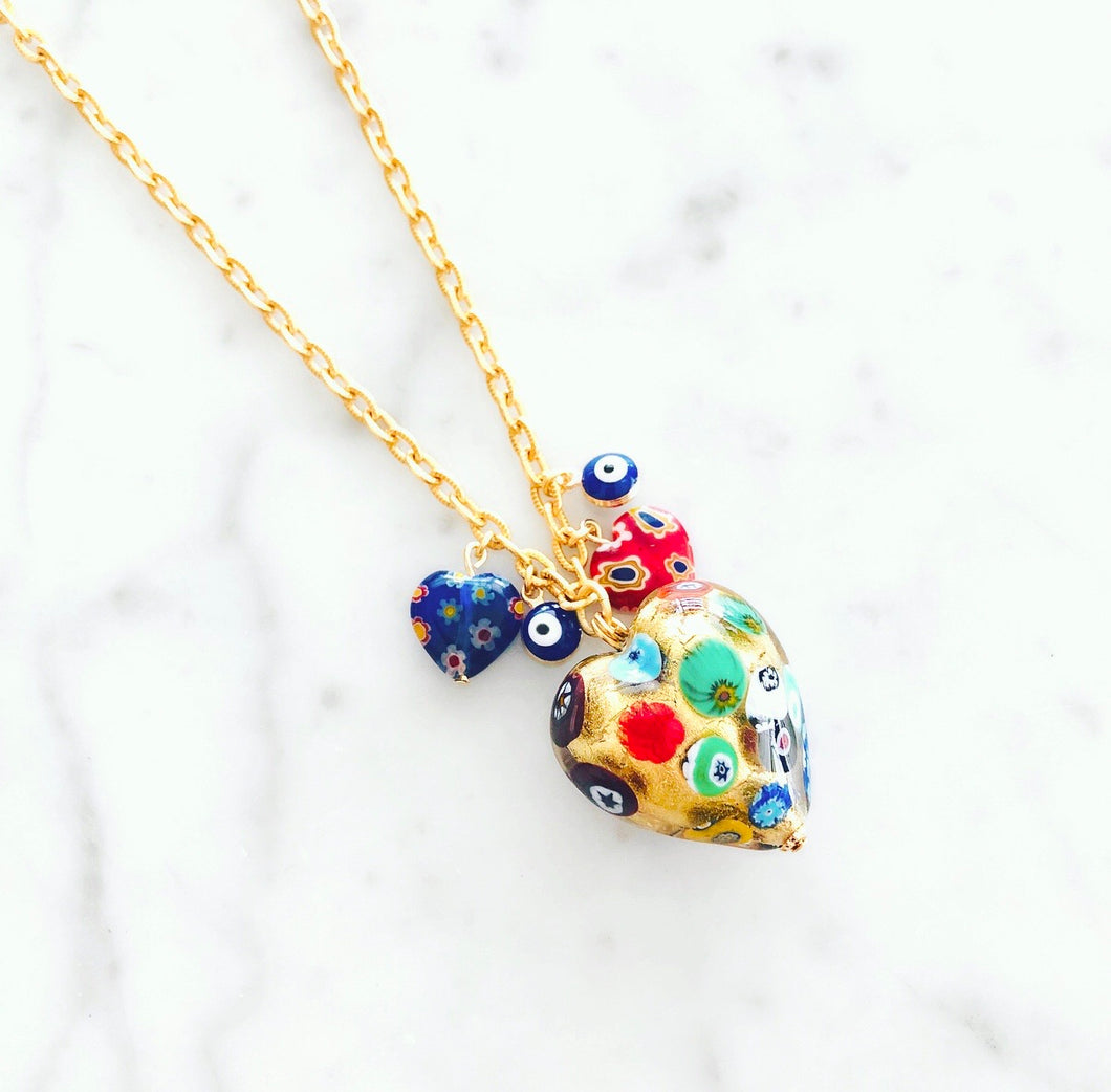 Puffy Murano Heart Short Necklace