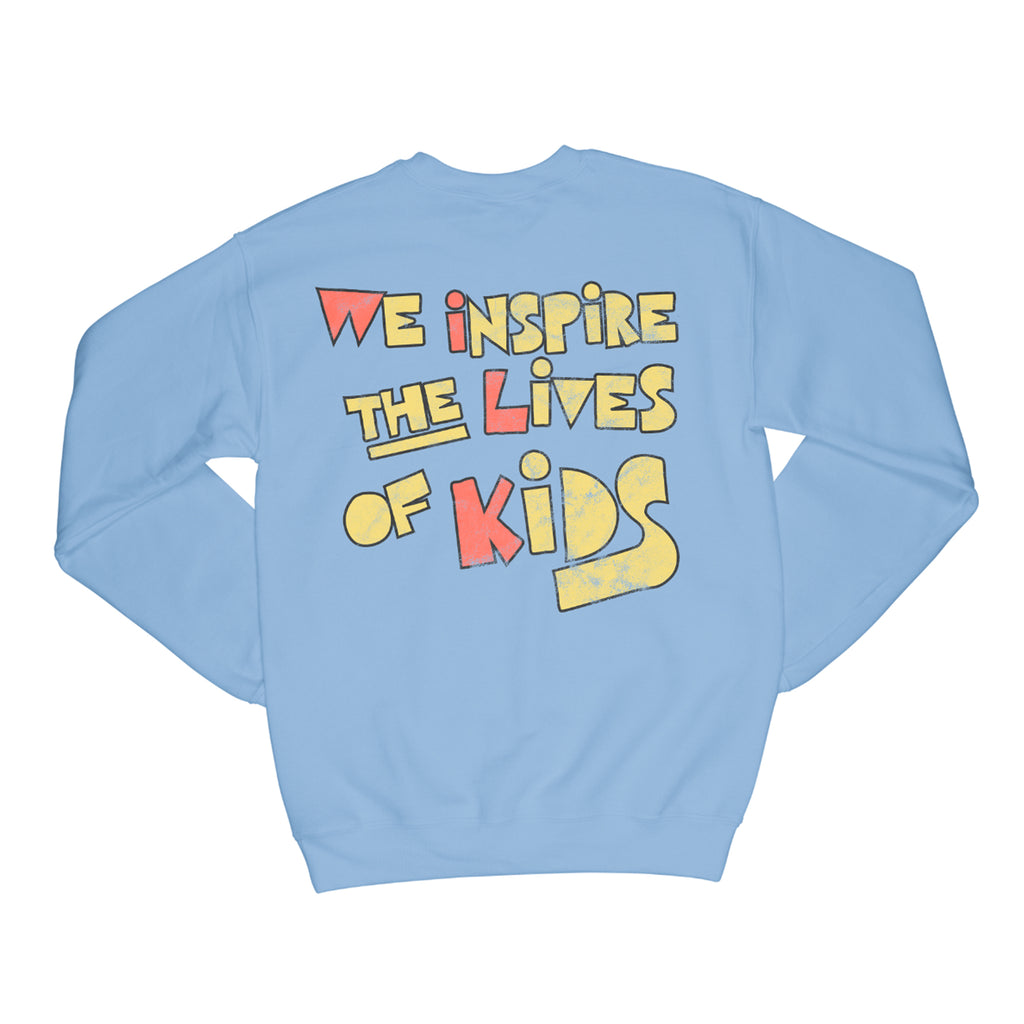 WE INSPIRE THE LIVES OF KIDS CREWNECK // BLUE