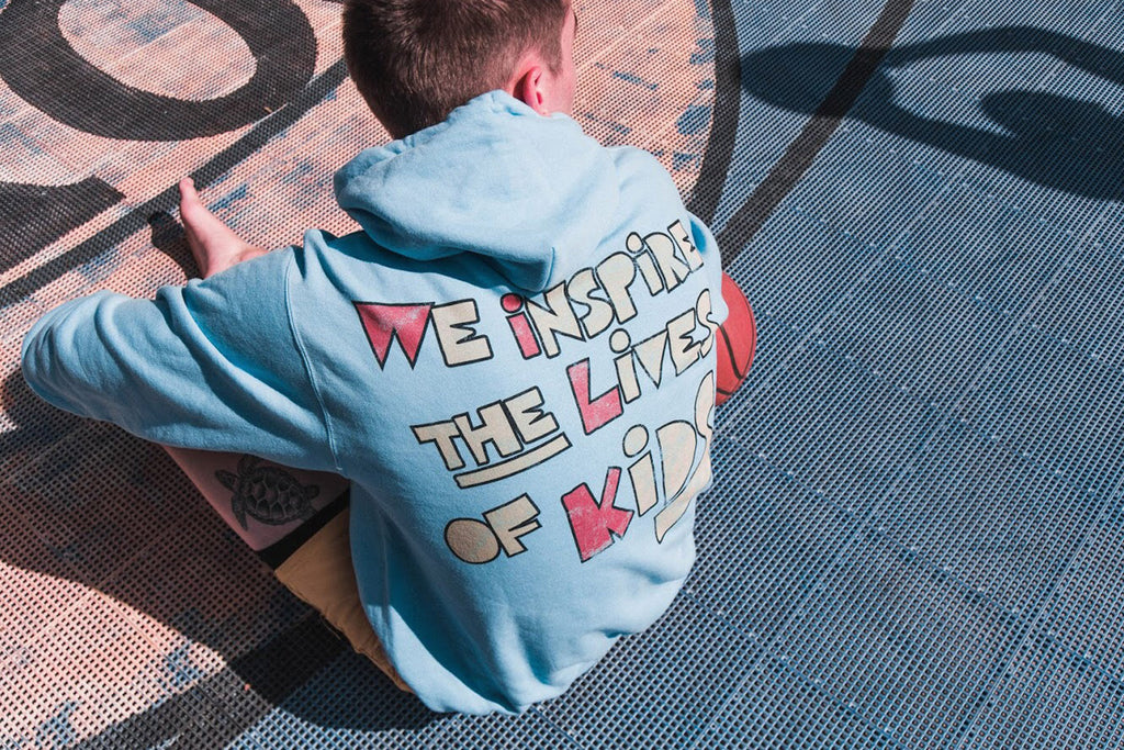 WE INSPIRE THE LIVES OF KIDS HOODIE // BLUE