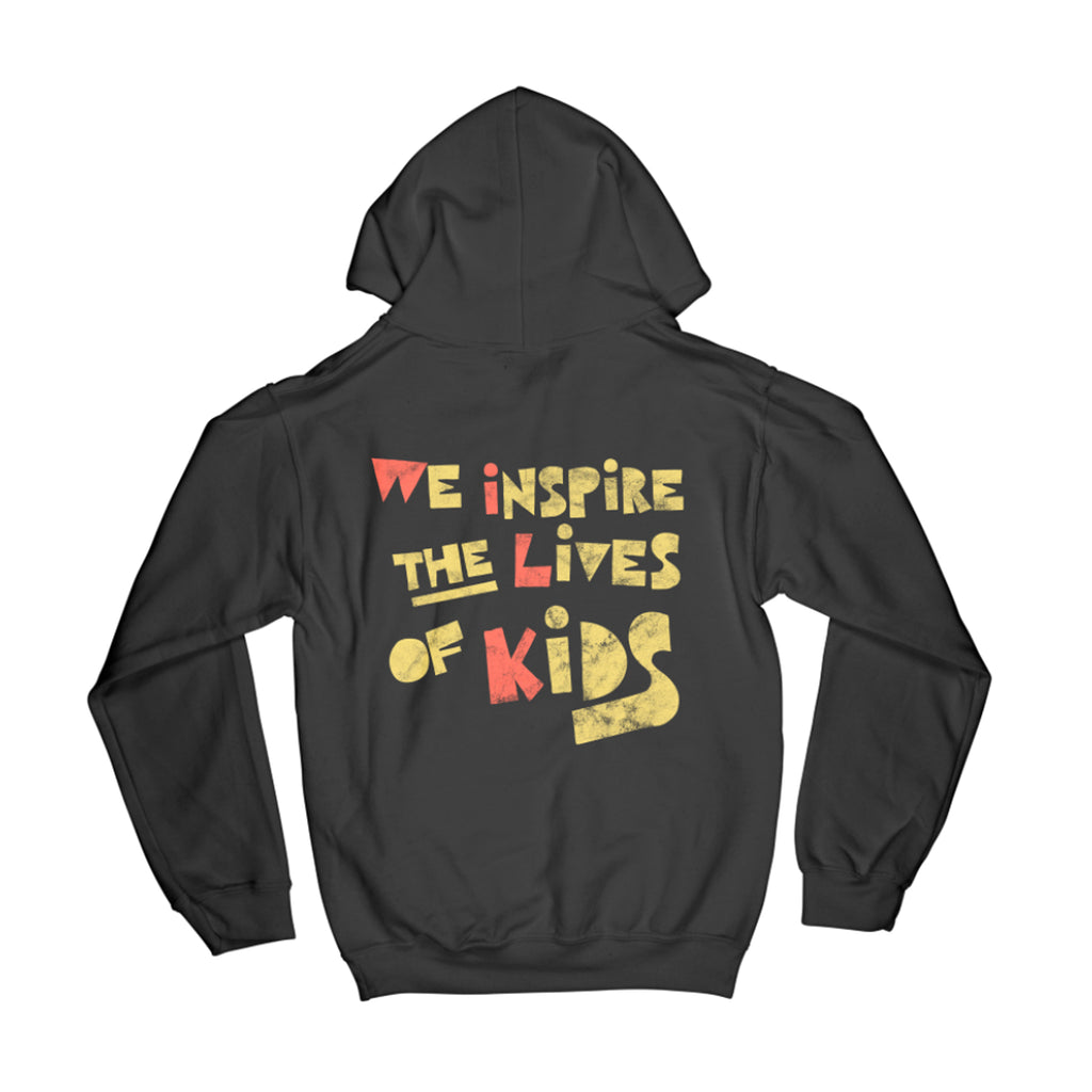 WE INSPIRE THE LIVES OF KIDS HOODIE // BLACK