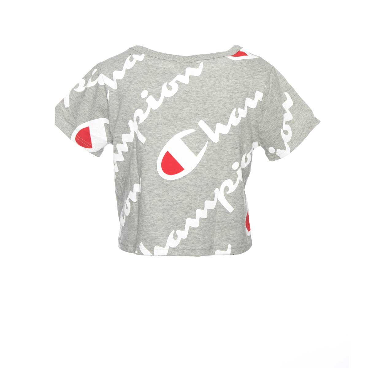 Champion Life Cropped Tee All-Over Logo Grey