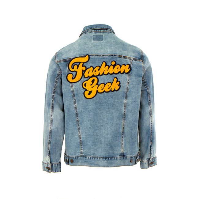 Fashion Geek Script Logo Trucker Men's Denim Jacket