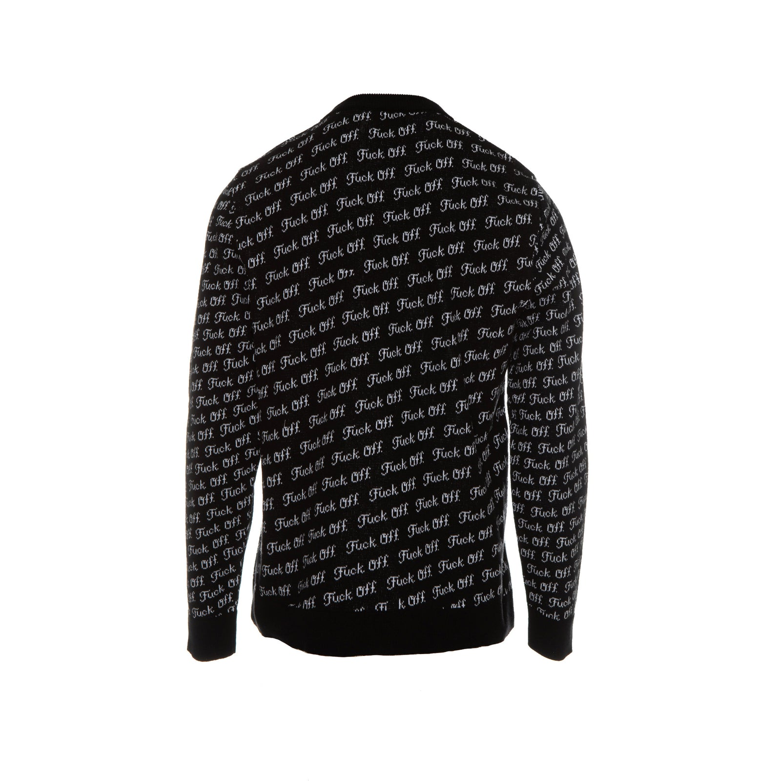 Raised By Wolves Fu*k Off Jacquard Men's Sweater Black