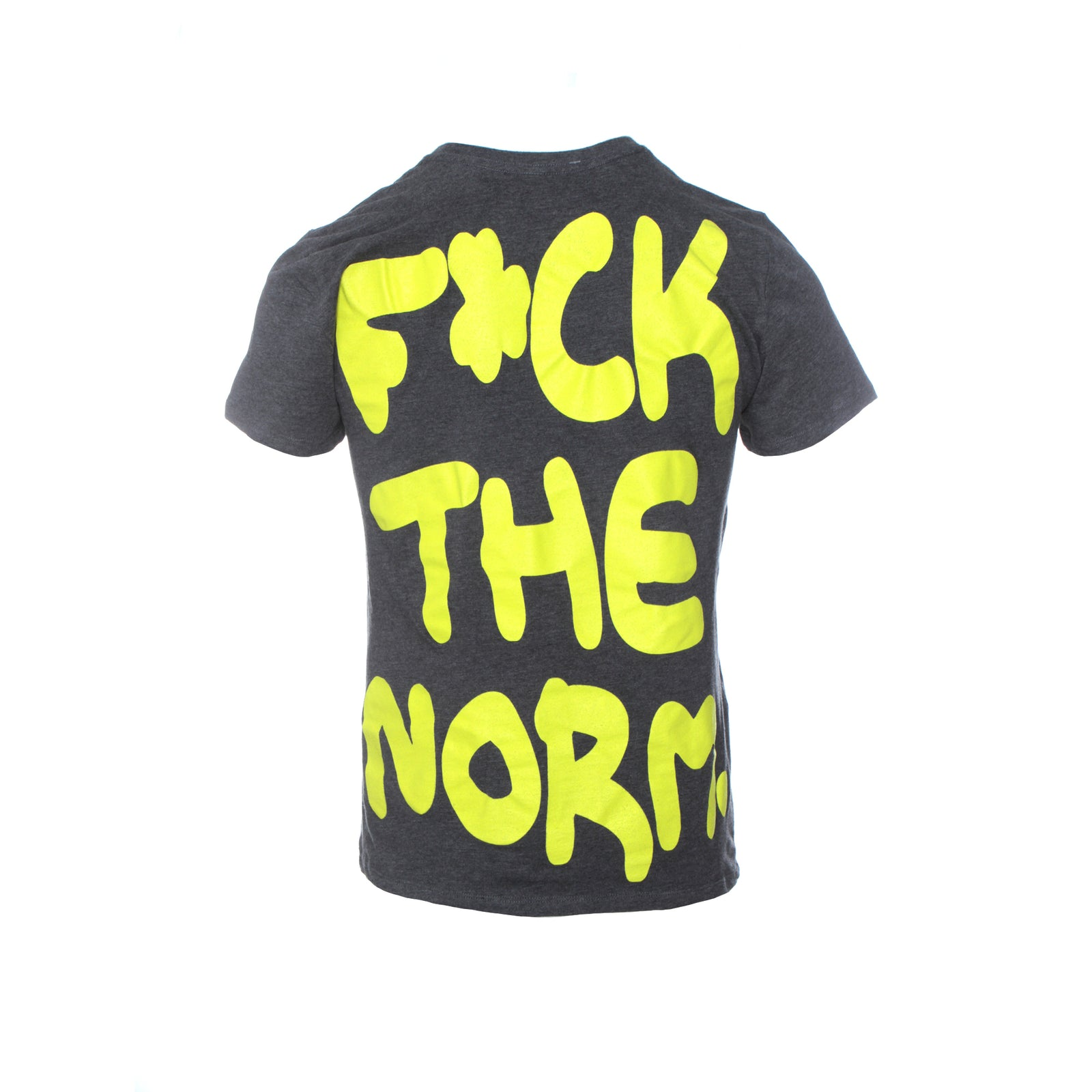 Fashion Geek F**k The Norm Men's SS T-Shirt Dark Grey Neon Yellow