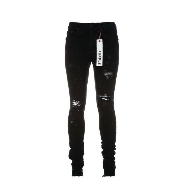 Purple-Brand P001 Black Oil Spill Men's Jeans