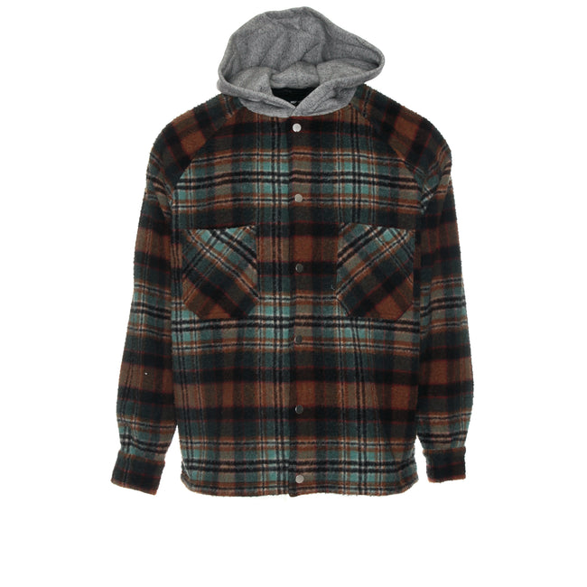Represent Hooded Flannel Jacket Teal