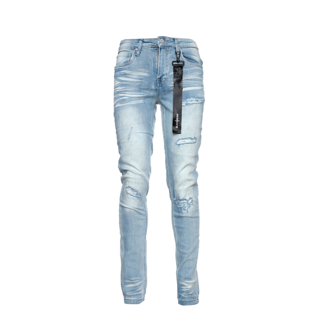 Black Denim Frozen Cloud Men'sSkinny Designer Jeans