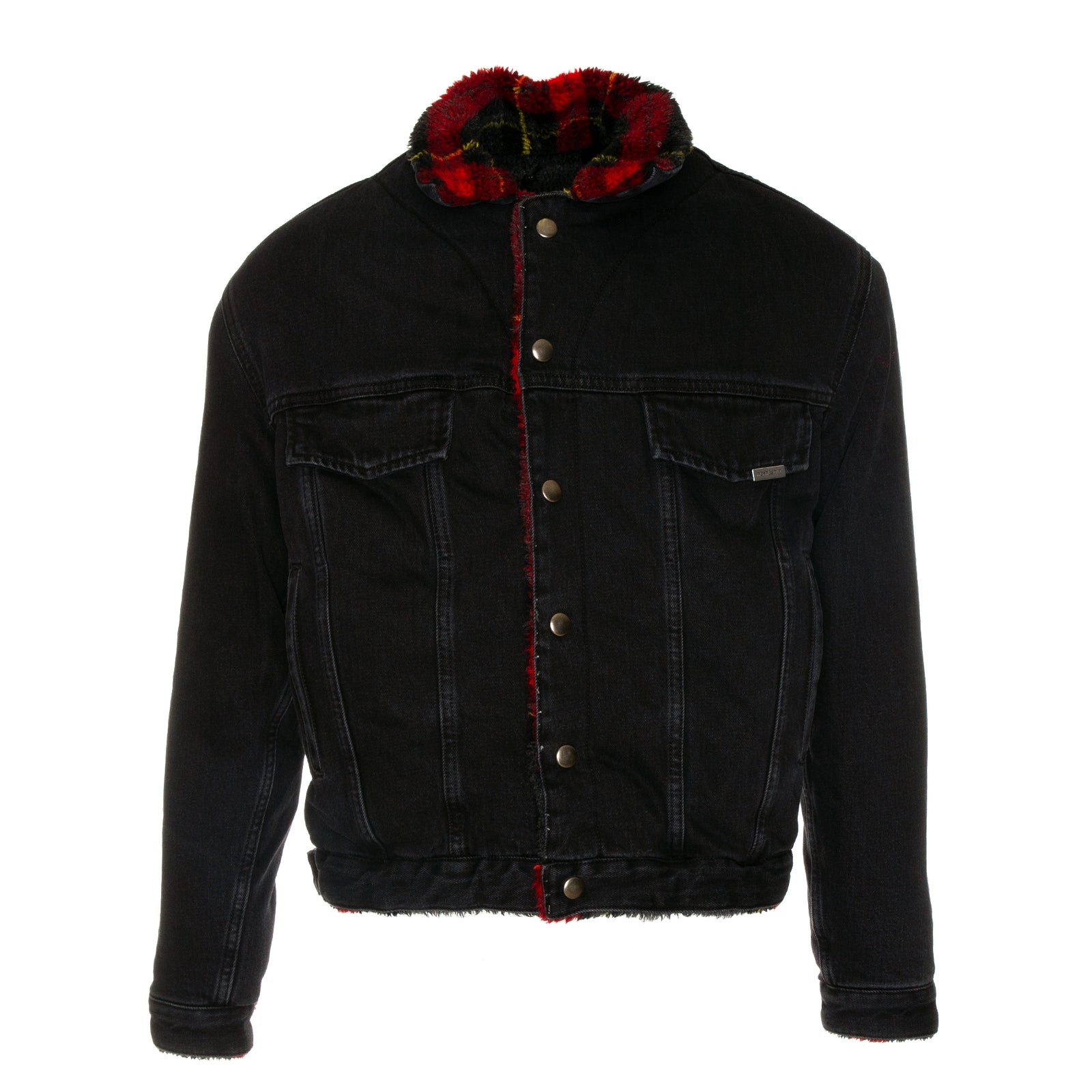Represent Reversible Sherpa Denim Jacket in Black with Plaid Lining