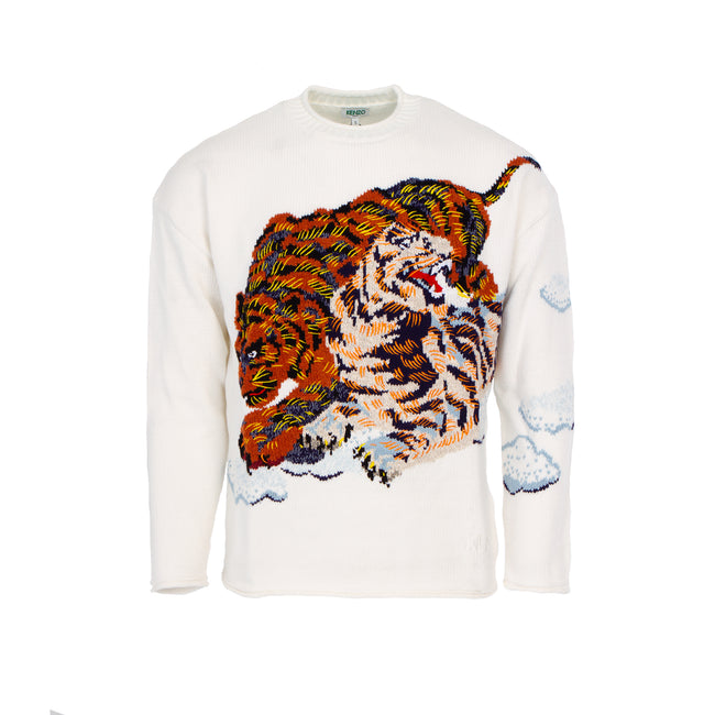 Kenzo Paris 'Cloud Tigers' Knit Sweater White