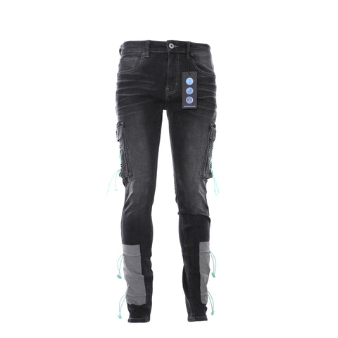 P001 Black Multi Paint Repair Jean