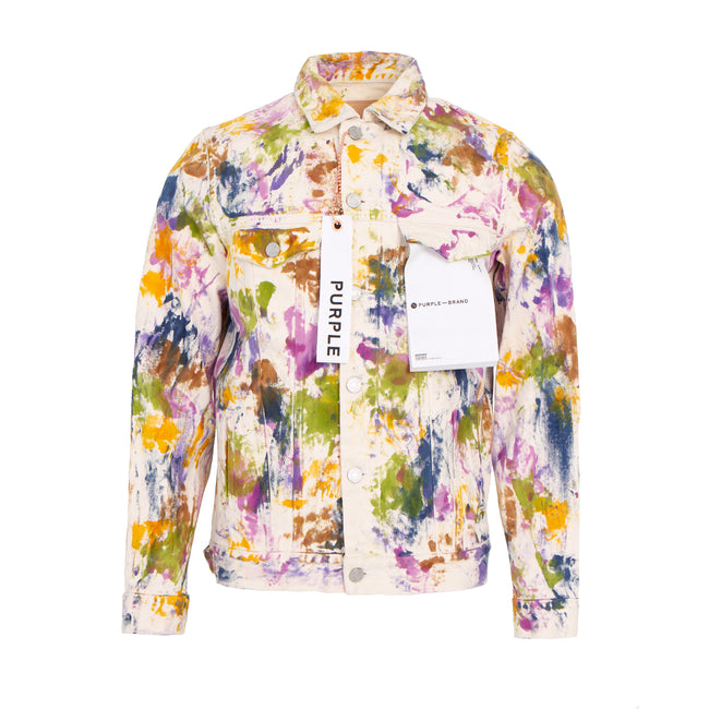 Purple Brand P006 White Multicolored Paint Men's Denim Jacket