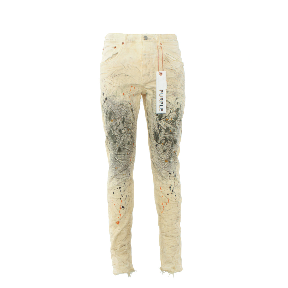 PURPLE Denim P011-White Dirty Paint Men's Designer Jeans