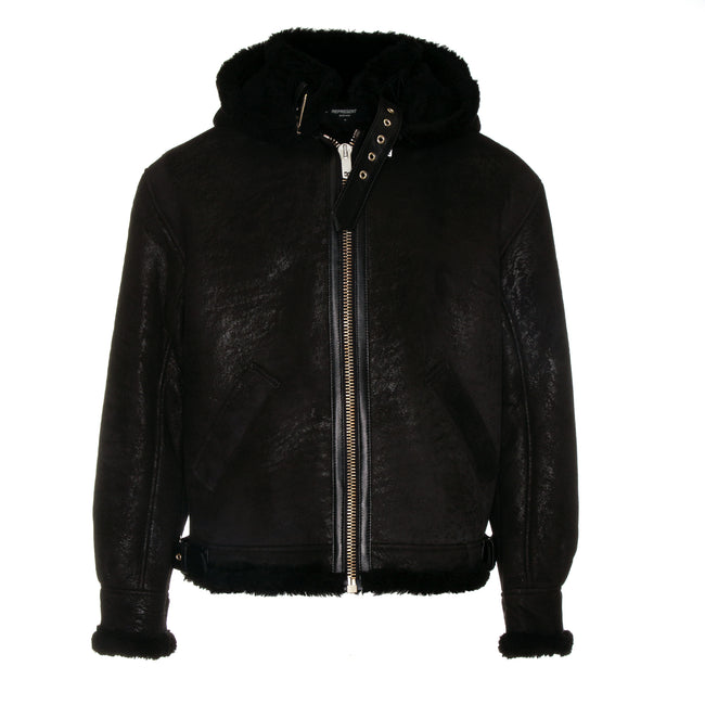 Represent Cracked Shearling Jacket Black