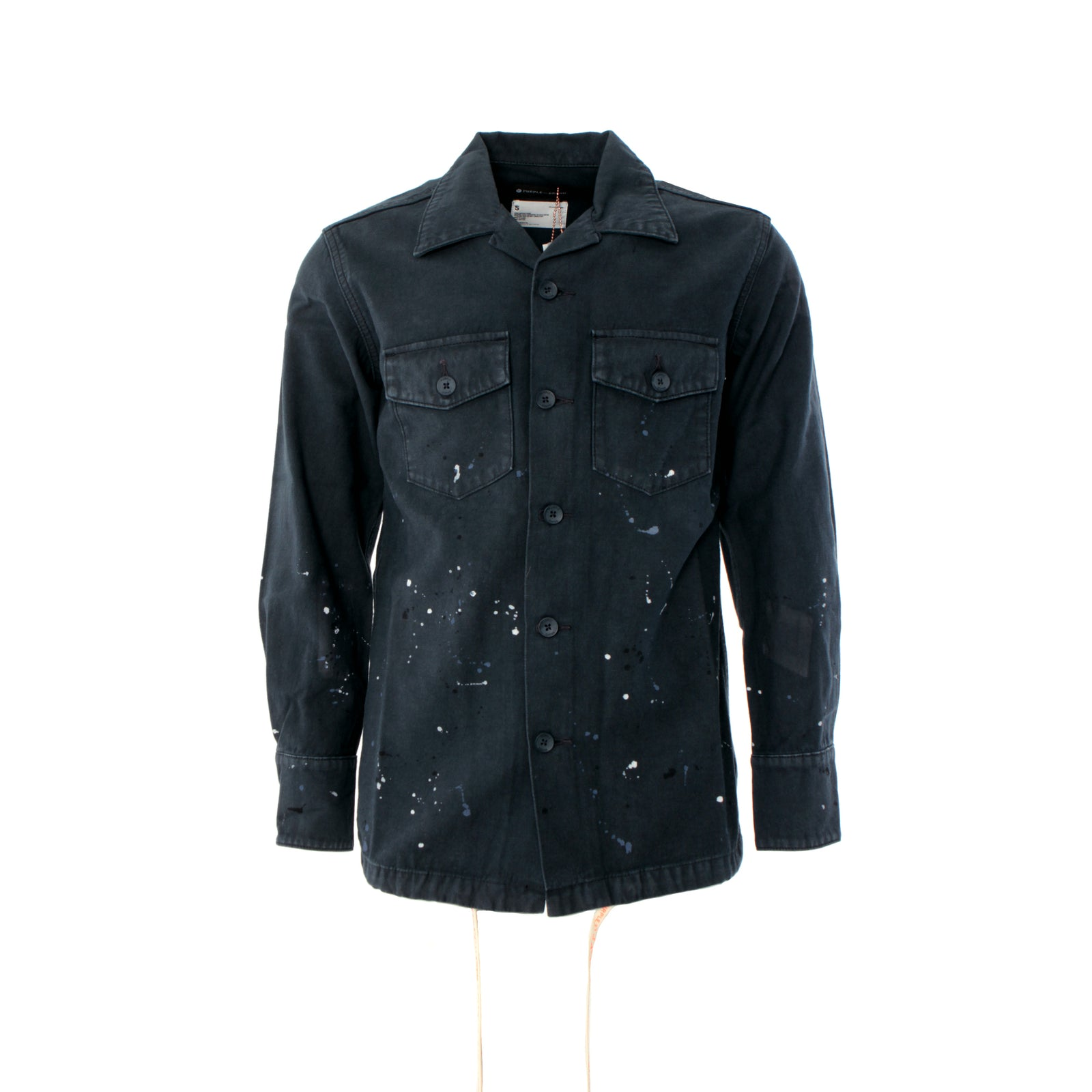 Purple Brand Overdryed Paint Fatigue Men's Shirt Navy