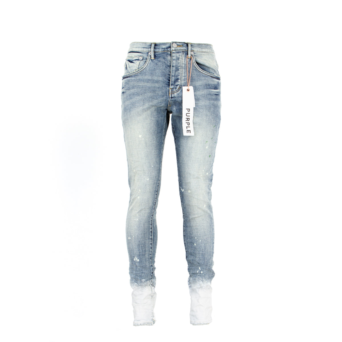 Purple Brand Denim P002 Light Indigo Bleached Hem Designer Jeans