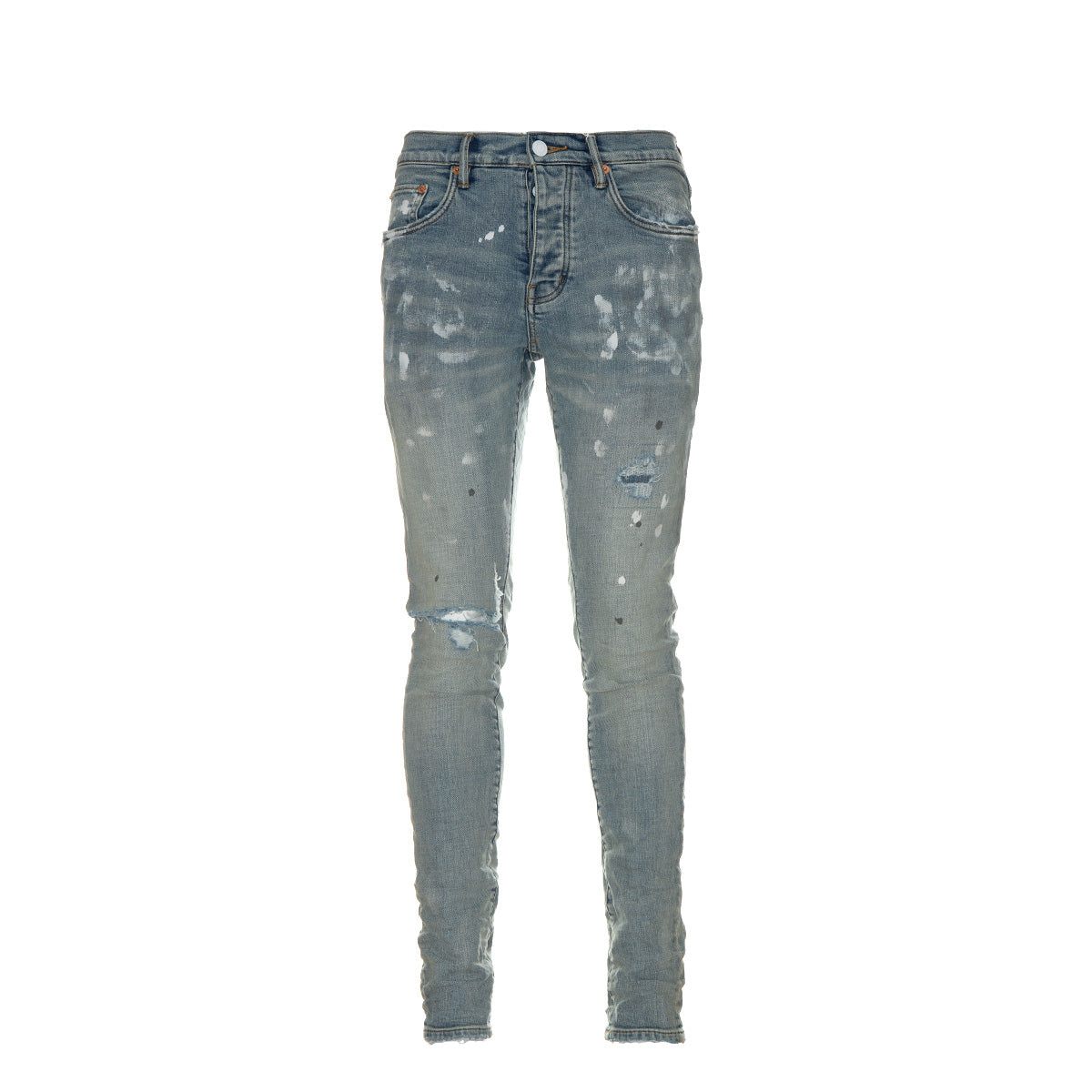 P001 Light Indigo Paint Blowout Jeans