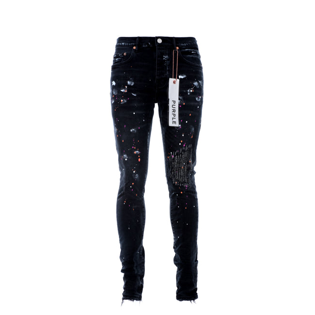 Purple Brand P001 Black Multi Paint Repair Men's Designer Jeans