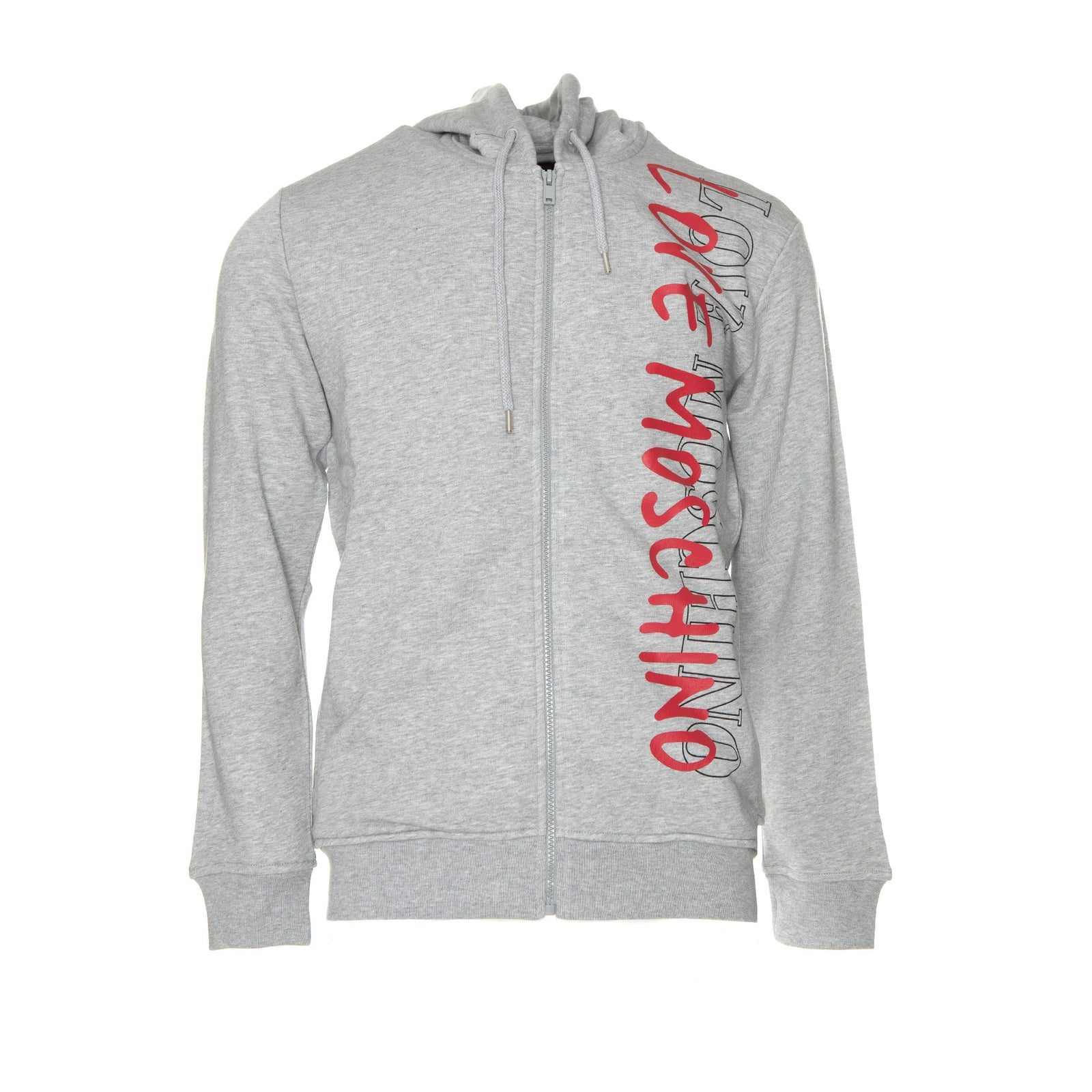 LOVE Moschino Fleece Men's Grey Hoodie  LOVE Moschino Fleece Men's Grey Hoodie