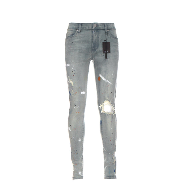 Black Denim Van Gogh Pale Blue Men's Distressed Skinny Jeans