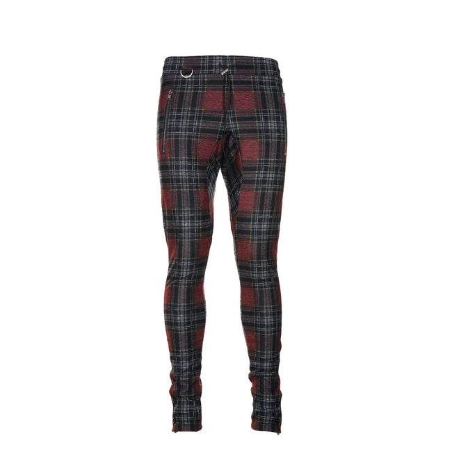 Kollar Button Pant Maroon Plaid