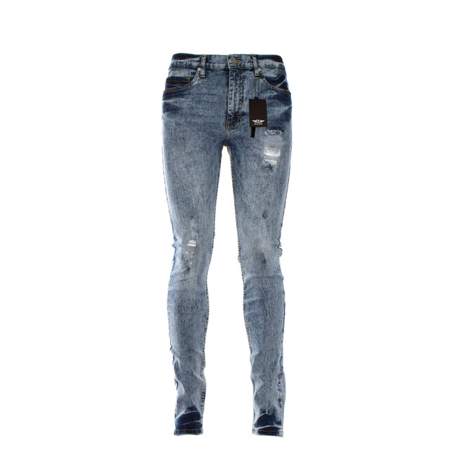 Black Denim Acid Wash Men's Jeans Blue