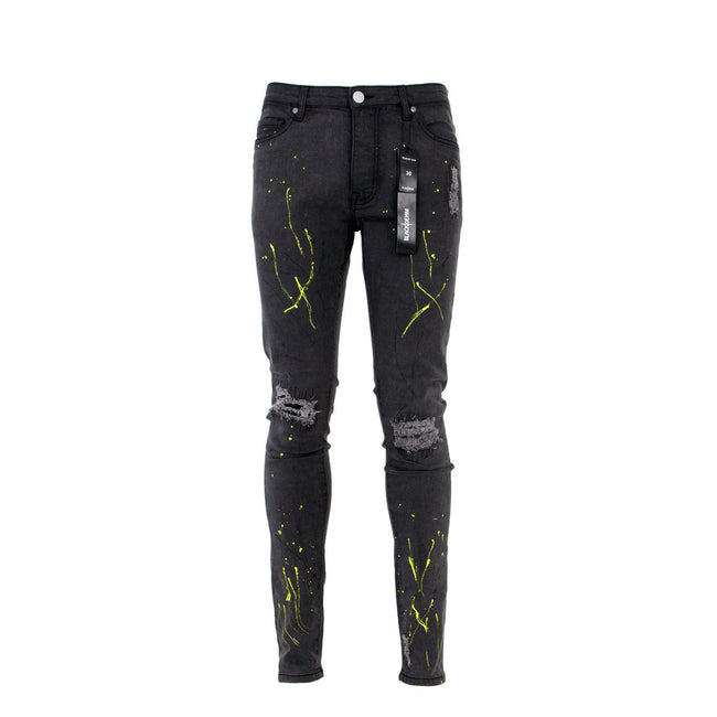 Balck Denim Slime Men's Designer Jeans Black